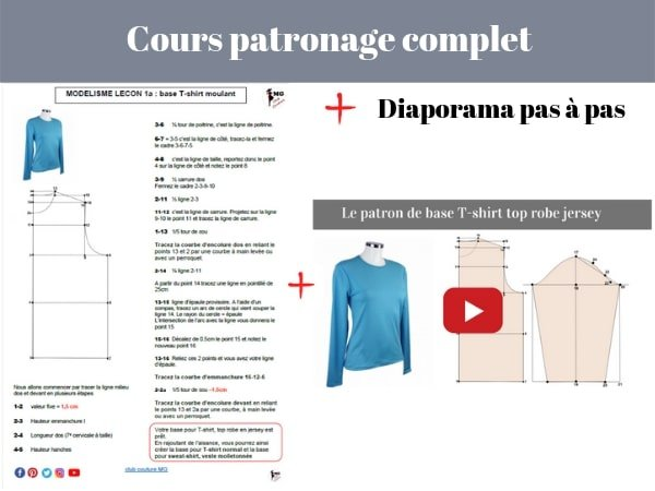 cours de patronage base T-shirt, Patronage: patron de base T-shirt